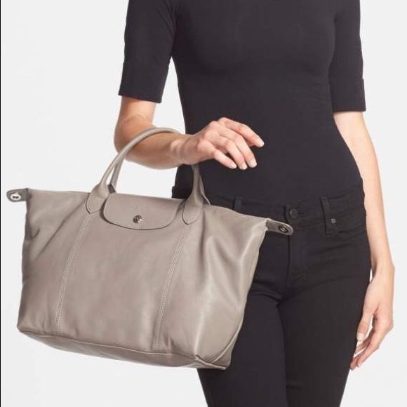 Longchamp Top-handle Le Pliage Cuir bag in Pebble